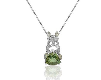 5 Ctw Trillion Cut Green Amethyst Pendant with Marquise and Round Diamonds with 14K White Gold by Luxinelle