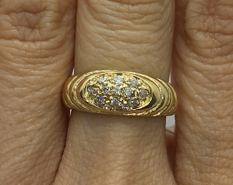 13 Diamond Pave Set Oval Signet Ring in 14K Yellow Gold by Luxinelle