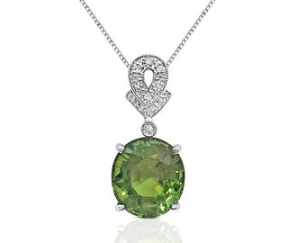 5.59 Carat Peridot Pendant with Diamond Bail on 14K White Gold by Luxinelle