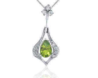 1.04 Ctw Peridot and Diamond Drop Pendant in 14K White Gold by Luxinelle