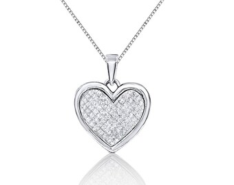 10K White Gold Heart Shaped Diamond Pendant by Luxinelle