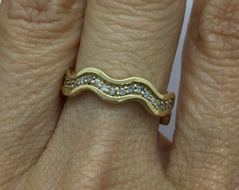 Wavy Diamond 14K Yellow Gold Band Stacking Eternity Ring Size 5.5 - 14K by Luxinelle
