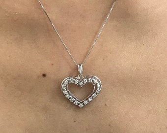 0.55 Carat Diamond Heart Pendant Prong Setting - 14k White Gold with 18 Inch Chain