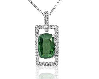 5.65 Ctw Green Tourmaline Diamond Rectangle Pendant 14K White Gold by Luxinelle