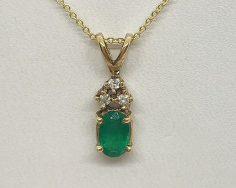 Oval Green Emerald with Diamonds Pendant in 14K Yellow Gold 0.55 TCW with 18 inch Chain by Luxinelle