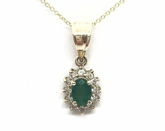 Emerald and Diamond Pendant in 14K Yellow Gold - 0.68 TCW Oval Cut by Luxinelle