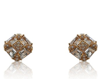 Rose Gold Diamond and White Topaz Earrings 14K French Clip