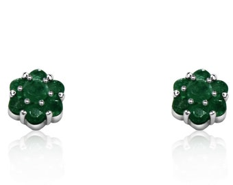 1 Carat Emerald Flower Cluster Stud Earrings 14K White Gold by Luxinelle