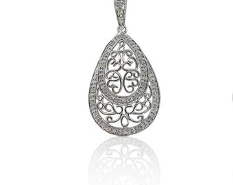 Art Nouveau Style Teardrop Style Diamond Pendant with Heart Inlay in 14K White Gold by Luxinelle