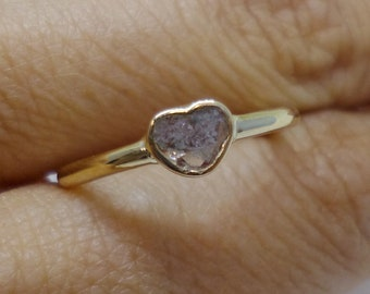 Unique Heart Shaped Rough Diamond Slice Ring  - 14K Yellow Gold Handmade Bezel Setting with Natural Raw Untreated Stone by Luxinelle