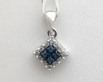 Blue and White Diamond Pendant - 10K White Gold 0.30 TCW