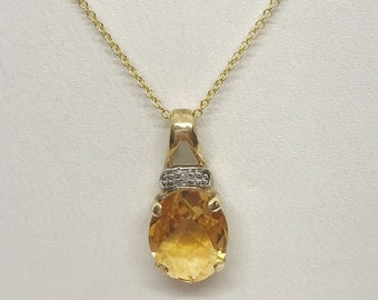 Orange Citrine and Diamond Pendant - Checkerboard Cut - Two Tone 14K White and Yellow Gold Setting by Luxinelle