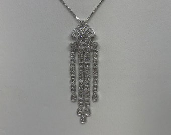 1/4 Carat Diamond Drop Pendant - 14K White Gold Vintage Elegant Art Deco Charm