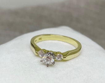 3 Diamond Engagement Ring for Past Present Future 14K Yellow Gold 6 Prong 0.35 Ctw