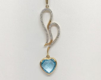 Heart Shaped Blue Topaz and White Diamonds Pendant Charm - 18K Yellow Gold