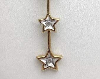 3 Star Diamond Drop Pendant Necklace - 2 Tone Gold - 10k Gold Star Charm