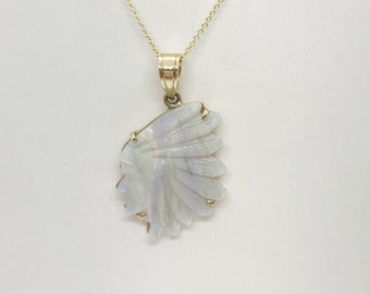 7.07 Carat Native American Chief Hand-Carved Opal Pendant in 14K Yellow Gold by Luxinelle