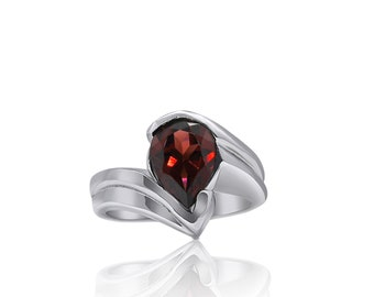 1.7 Carat Pear Shaped Red Garnet and 14K White Gold Ring by Luxinelle, January Birthstone