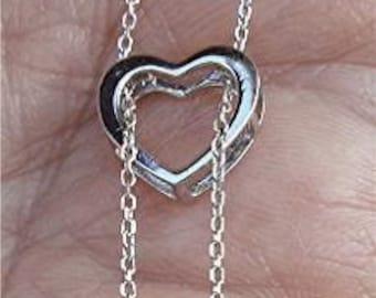 Wear 4 ways 0.25 Carat Diamond Heart Pendant on a Chain - 18K White Gold