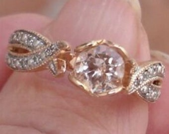 Petite Morganite and Diamond Twist in a Heart Shaped Prong Setting 14K Rose Gold Ring