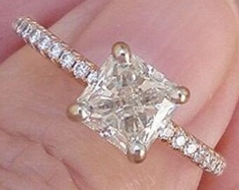 GIA Certified 1.2 Carat Radiant Cut Diamond Rose Gold Engagement Ring VS2 K James Allen Preowned