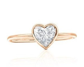 Minimalist Rose Gold Heart Shaped Diamond Solitaire Ring in Bezel Setting Custom Handmade with GIA Certified Diamond