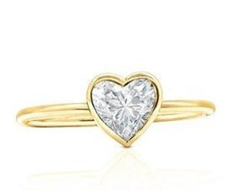 Yellow Gold 1/2 Carat Heart Shaped GIA VS2 F Diamond Engagement Ring, Custom Handmade Bezel VS2 F