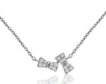 16 Diamond Bow Necklace - 14K White, Yellow or Rose Gold by Luxinelle 0.12 ct