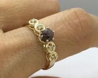Rose Cut Dark Red Diamond Ring in Yellow Gold - Engagement or Stacking Ring