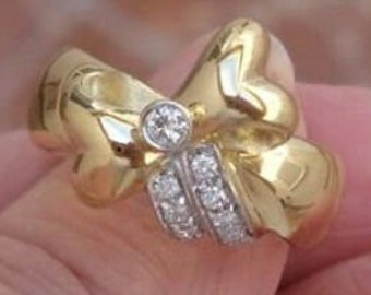 18K Yellow Gold Designer Love Knot Bow with Diamond Accents Ring