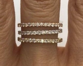 Rose Gold Diamond Band - Extra Sparkly 26 Diamonds 0.39 Ctw for Wedding and Stacking Rings