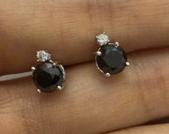 2.17 Carat Black Diamond Stud Earrings - White Diamond Accent 14k White Gold