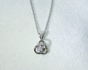 Trinity Knot with Diamond Solitaire Pendant 14K White Gold Necklace 0.05 Carat
