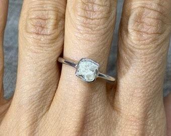1 Carat Rough Diamond Bezel Ring - White Gold Raw White Diamond by Luxinelle