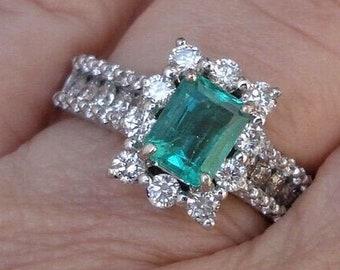 Certified Emerald Diamond Halo Engagement Ring 14K