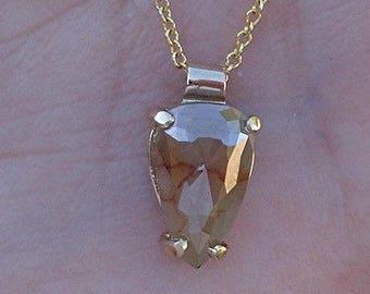 1.51 Carat Rose Cut Pear Diamond Pendant 14K Yellow Gold