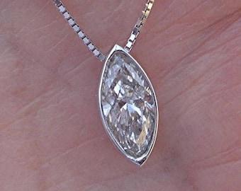0.83 Carat Marquise Diamond Solitaire Necklace Bezel Set Pendant 14K White Gold