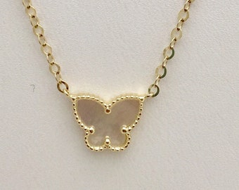 Mother of Pearl Butterfly Pendant - 14K Yellow Gold