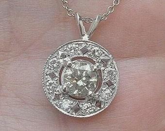 1 Carat Diamond Halo Pendant Necklace - Eye Clean 14K White Gold