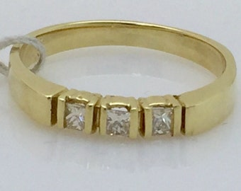 3 Princess Cut Diamond Band 14K Yellow Gold- Minimalist Past Present Future Wedding or Stacking Ring
