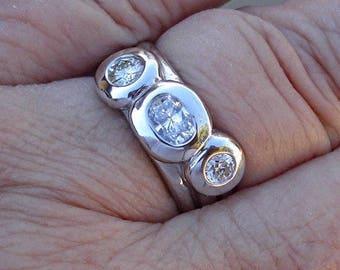 3 Bezel Round and Oval Diamond Band - 14K White Gold 0.68 TCW
