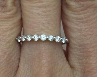 8 Diamond Shared Prong Wedding Band 0.40 TCW- 14K Made to Order, Customizable
