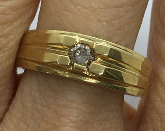 0.19 Diamond Signet Ring in 14K Yellow Gold Ring by Luxinelle