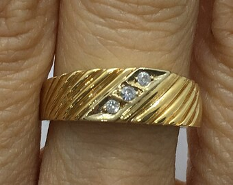 3 Diamond Yellow Gold Ring 14k by Luxinelle