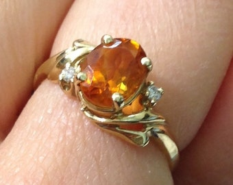 Oval Citrine and Diamond Ring - 14K Yellow Gold November Birthstone