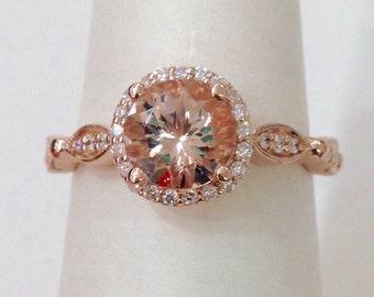 Rose Gold Morganite Engagement Ring - Vintage Style 14K Pink Gold Halo and Eye Band