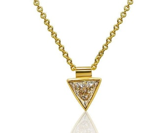 0.44 Carat Bezel 14K Yellow Gold Trillion Cut Diamond Necklace Handmade by Luxinelle