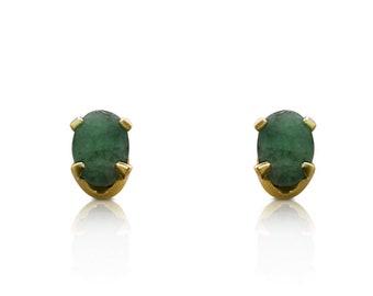 0.89 Carat Oval Cut Emerald Stud Earrings in 14K Yellow Gold