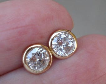 14K Gold Round Diamond Bezel Earrings - 0.40 TCW (White, Yellow or Rose Gold)