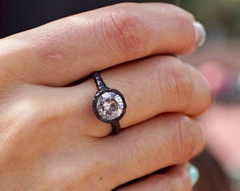 18K Black and Yellow Gold Alternative Engagement Ring with 2.25 Carat Gray Salt and Pepper Diamond - Handmade